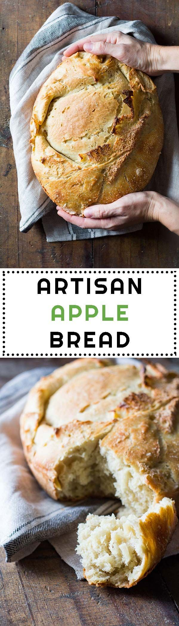 This is a real artisan apple bread with fresh apples. 12-hour starter, knead, rise, fold in apples, rise again, bake, give it a bite and fly to heaven! via @Green Healthy Cooking