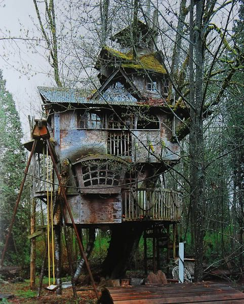 """The Abandoned Treehouse"" -- [The Redmond Treehouse of Redmond, Washington located at NE 73rd Way, off 148th Avenue NE, next to the Grass Lawn Community Park in Redmond Washington. Built by Steve Rondel. His children grew up before he could finish this exceptional treehouse. He started it 20 years ago when his oldest son was 5.]~[Photograph courtesy of Curious Places blog from the book ""Treehouses of the World"" by Pete Nelson & Radek Kurzaj]'h4d-287.2013':"