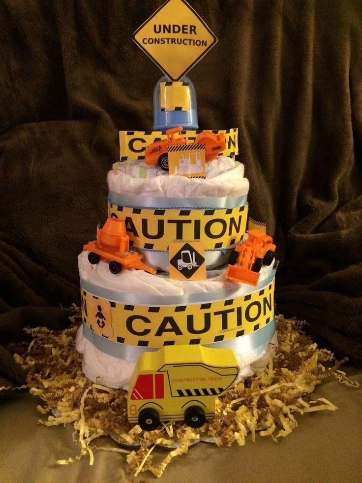Construction Diaper Cake Boy Yellow Black Baby Shower Theme