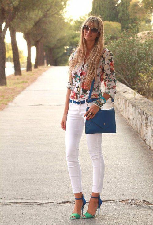 White and Florals  , OASAP.com en Jeans, Zara en Tacones / Plataformas, OASAP.com en Bolsos