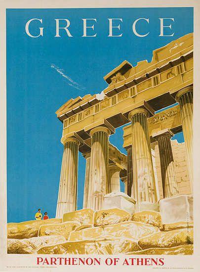 Vintage Posters - Greece, Parthenon of Athens Original Travel Poster