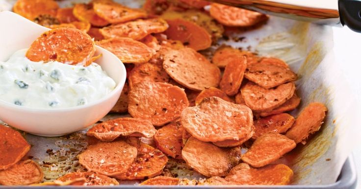 Sweet potato chips make a delicious alternative to regular fries. Spice them up with a sprinkle of piri-piri seasoning.