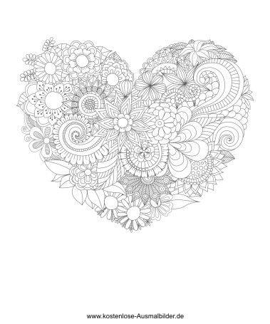 Ausmalbild Herz Aus Blumen Zeichnen Lernen Zeichnen Lernen