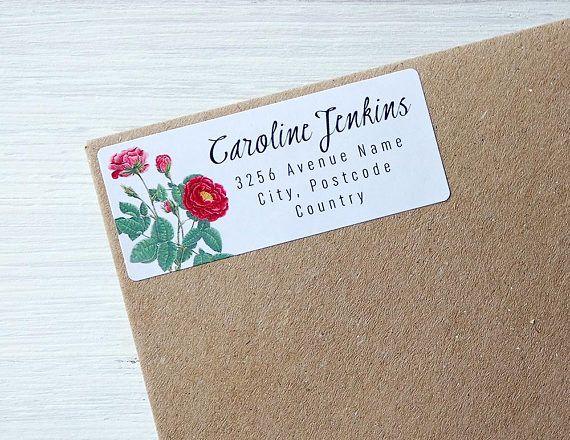 Custom Return Address Labels Floral Vintage Flowers Roses Personalized Address Stickers