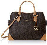 cool Calvin Klein Monogram Satchel Top Handle Bag,Brown/Khaki/Camel,One Size