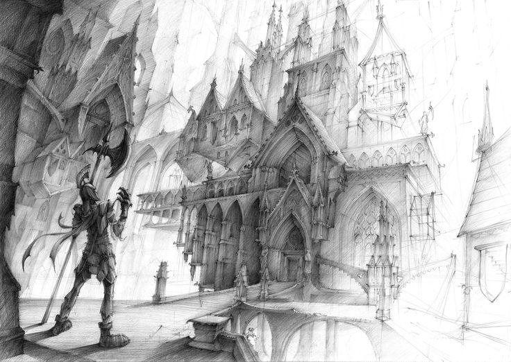 Fantasy enviroment design - designed & illustrated by Lena Maćków in DOMIN Poznań drawing school / zaprojektowane i zilustrowane przez Lenę Maćków na kursie DOMIN Poznań  https://www.facebook.com/groups/576215935788770/