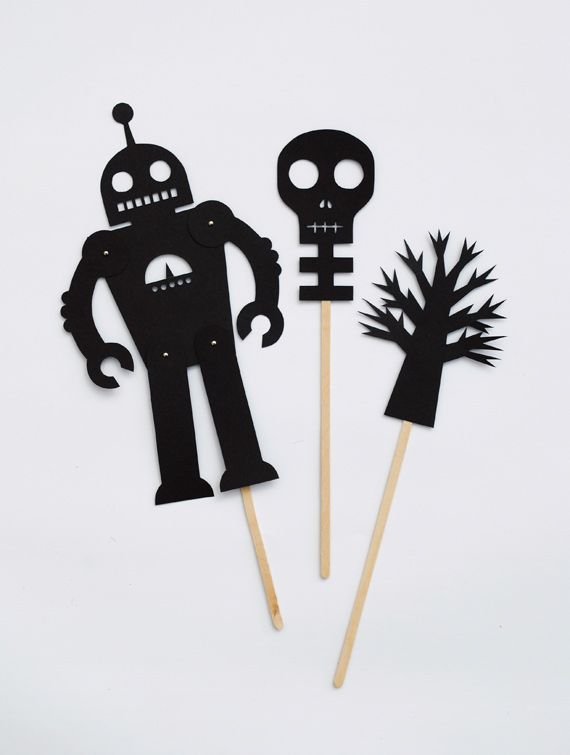 Puppet You can print them out onto thin black card (and you should should be still able to see the outlines). You will need little split pins for the robot and sticks to attach them to. Holly from chezbeeperbebe also put together some wonderful shadow puppet templates this year so check those out too!