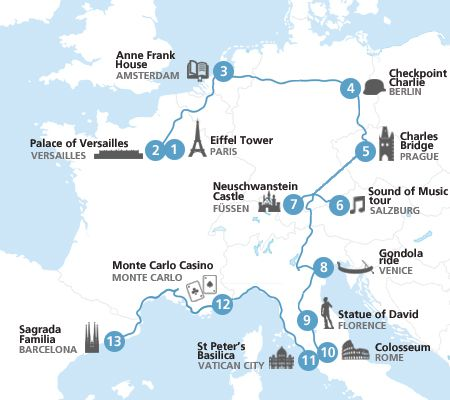 The Eurail European highlights itinerary takes you to Europe's most famous cities and landmarks