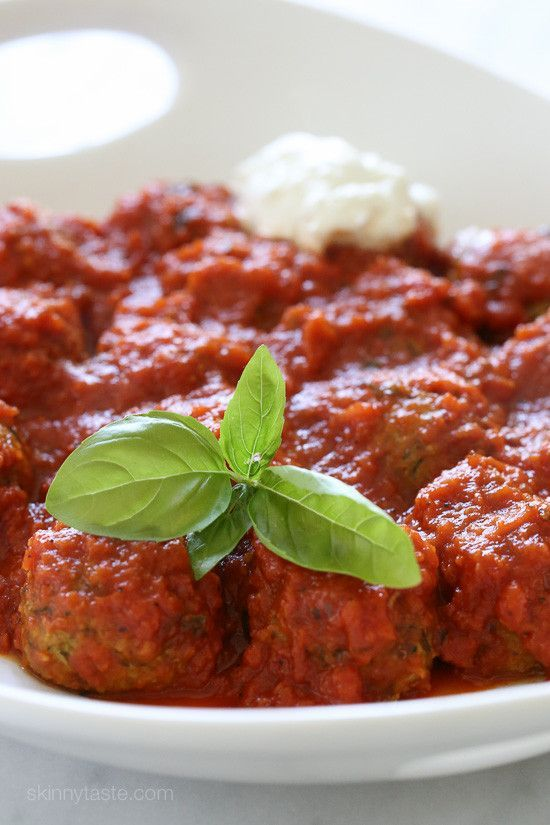"""These meatless meatballs were a HUGE hit in my house, I even let my neighbors and friends try and everyone loved them! Made with grated zucchini, garlic, Pecorino Romano, basil, bread crumbs and egg, then baked in the oven and finished in a pomodoro sauce. Serve them as an appetizer, over zoodles, whole wheat pasta or with a crusty piece of bread on the side.        A few weeks ago I made these awesome eggplant """"meatballs"""" and the most asked question I got in the comments and on Facebook…"""