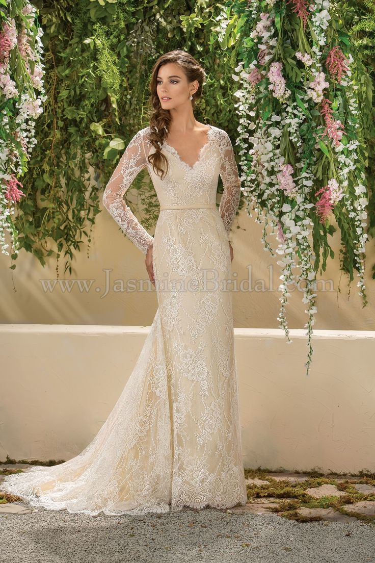 Jasmine bridal collection style f181004 in ivory nude for Lace wedding dress sleeves