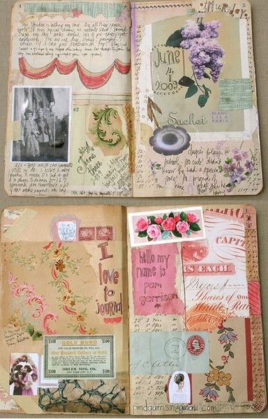 Vintage scrapbook layouts incorporating different mediums and a mix of ideas.