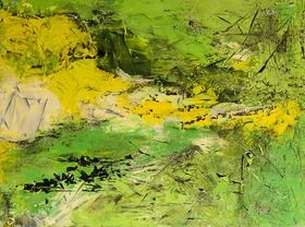 My abstract view of the Fleurieu peninsular, South Australia.  Viridescent Fleurieu 100CM X 75CM Helene Hardy Acrylic on Canvas $1064