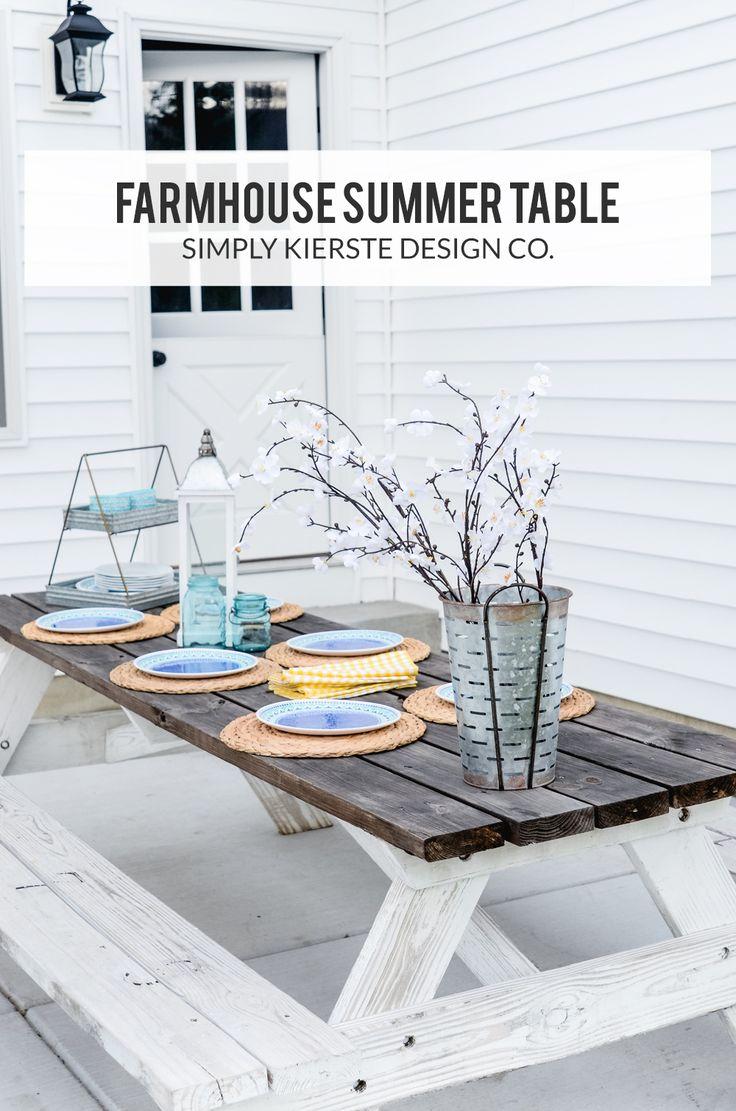 Easy Farmhouse Summer Table! | Simply Kierste Design Co. #ad