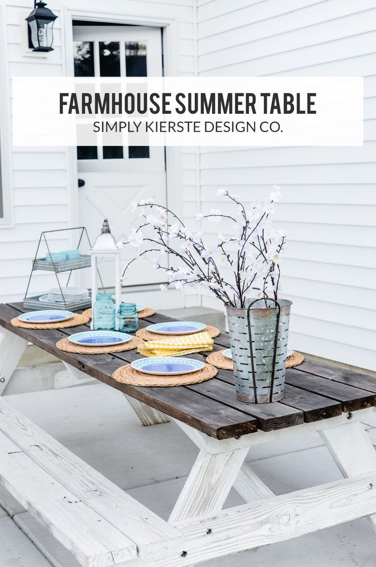 Easy Farmhouse Summer Table! | Simply Kierste Design Co. #ad