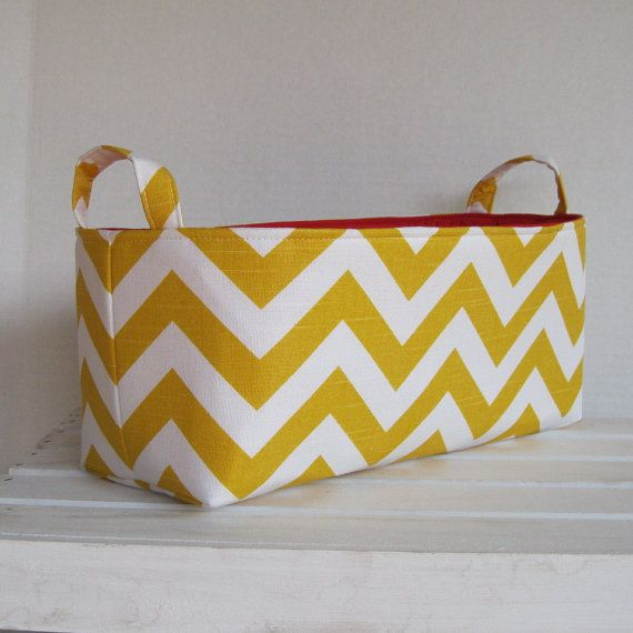 Long Diaper Caddy - Storage Container Basket Fabric Organizer Bin - Yellow/ White Chevron Fabric - Choose the Fabric for Inside on Etsy, $33.00
