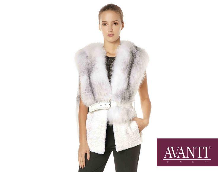 AVANTI FURS - MODEL: LOKA SWAKARA VEST with Fox and Leather Belt #avantifurs #fur #fashion #swakara #luxury #musthave #мех #шуба #стиль #норка #зима #красота #мода #topfurexperts