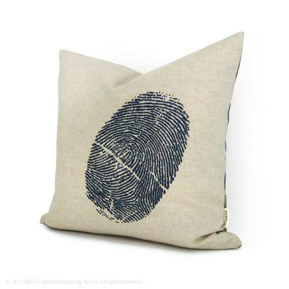 Fingerprint pillow - Navy blue thumbprint image on natural beige Ikat pattern back - 16x16 decorative throw pillow - Chic industrial decor on Etsy, $52.00