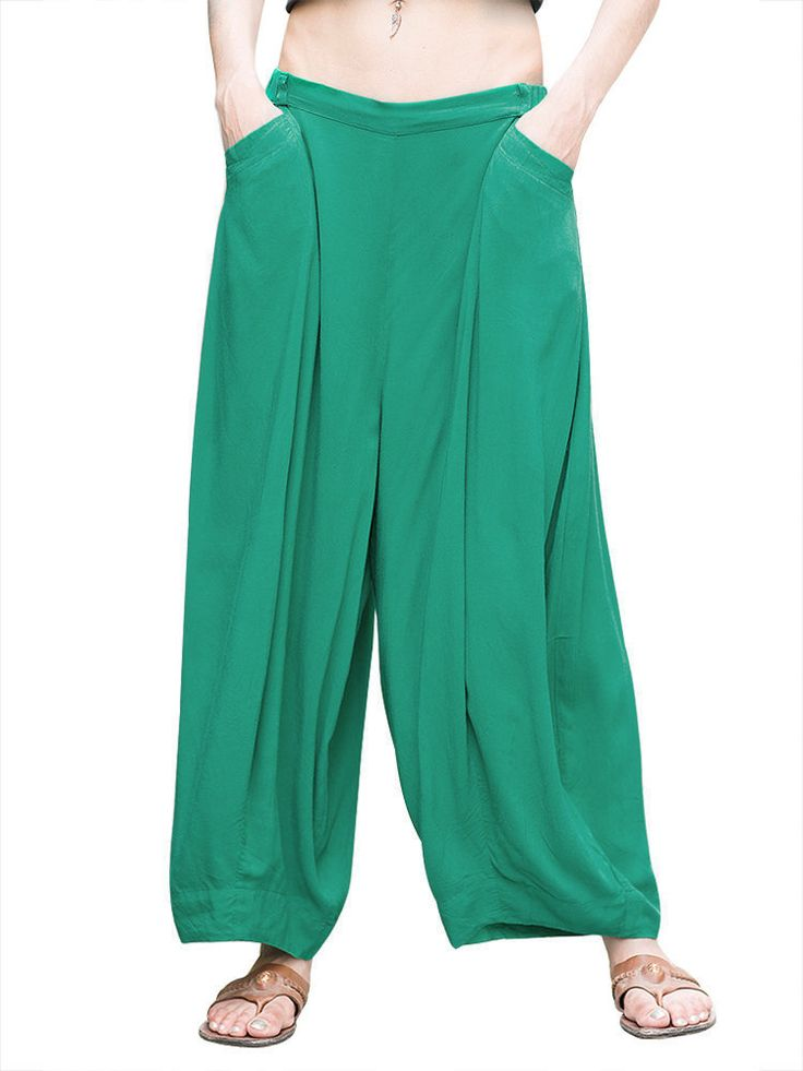 O-Newe Casual Women Elastic Waist Pocket Harem Pants