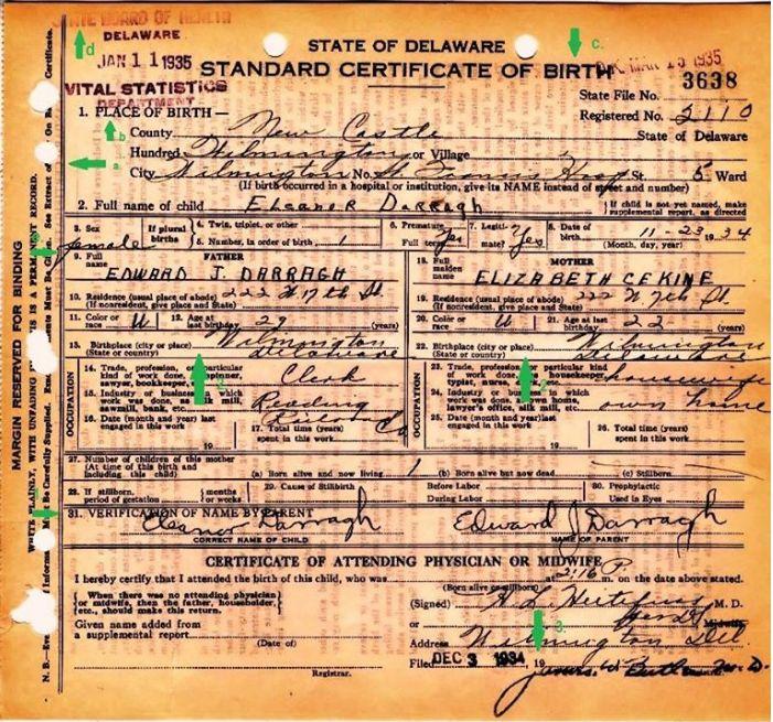 certificate birth ted eleanor darragh cruz