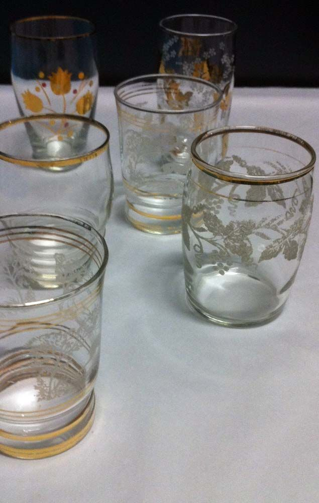 Etched glasses with gold trim
