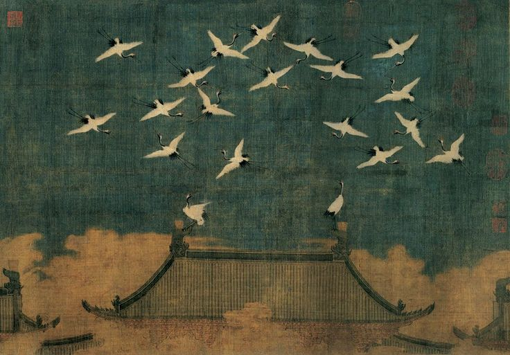 Auspicious cranes above Kaifeng. Zhenghe reign (February 26, 1112) Court of Huizong. Handscroll. ink and color on silk