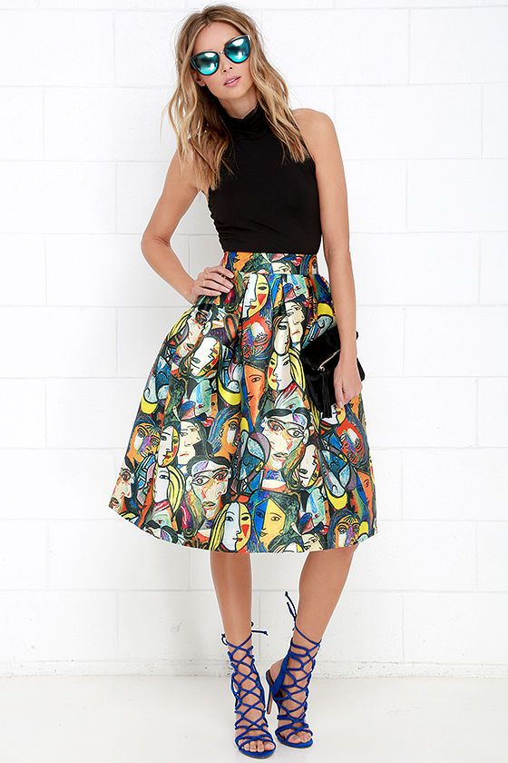 Pretty as a Picasso Multicolored Print Midi Skirt at Lulus.com!
