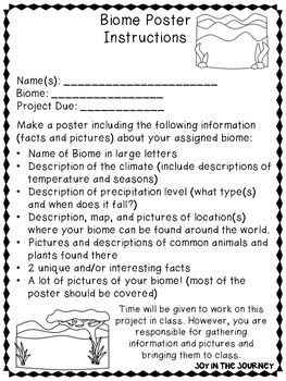 "Biome Poster Project - fun and engaging project to assess your students knowledge of biomes and give them valuable practice researching and speaking in front of an audience. Everything you need to assign and grade the project! from Jessica Lawler, ""Joy in the Journey"""