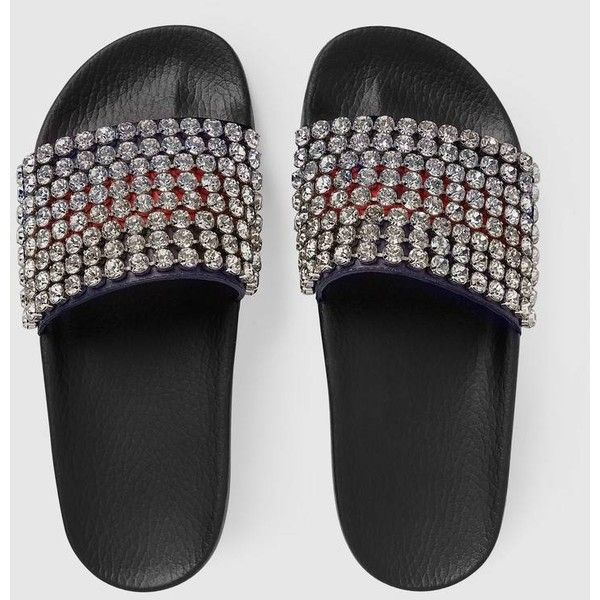 Gucci Web Slide With Crystals ($1,150) ❤ liked on Polyvore featuring shoes, sandals, wide strap sandals, rubber sole sandals, leather slide sandals, red leather shoes and gucci shoes