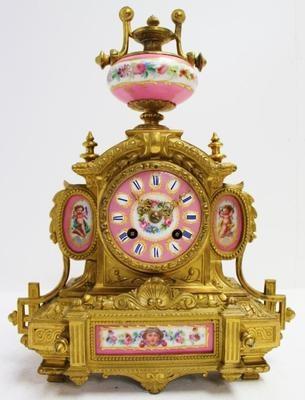 Beautiful Quality 19thC French Gilt Metal 5 Pink Sevres Porcelain Mantel Clock | eBay