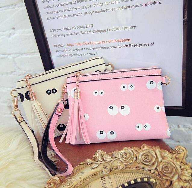 Тенденция женщин сумка PU кожаная сумка конверт большие глаза бахромой персонализированные кулон цепи моды случайные сумки на ремне