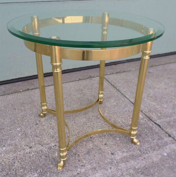 Vintage 1960 S Labarge Side Table Brass Rams Hoof Feet Glass Top Hollywood Regency Round Mid Century M Brass Accent Table Brass Side Table Side Table