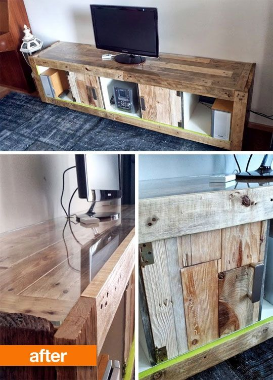 A reclaimed wood transformation of a plain white IKEA EXPEDIT into a warmly imperfect TV console.