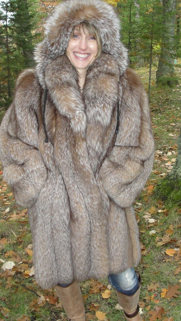 Crystal Fox Hooded Stroller Coat with sheared Mink Fur ...