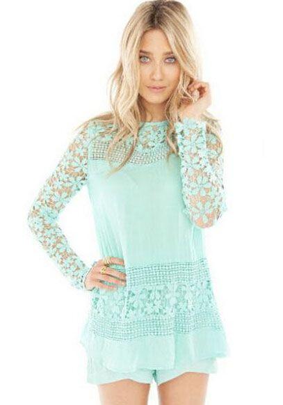 Sky Blue Long Sleeve Floral Crochet Lace Blouse 17.67