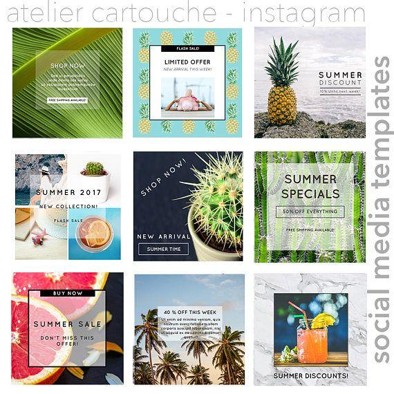 TEMPLATES: Instagram Templates Tropical summer template