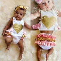 Wish | Newborn Infant Baby Clothes Girls Bodysuits Love Ruffles Romper Jumpsuit Sunsuit