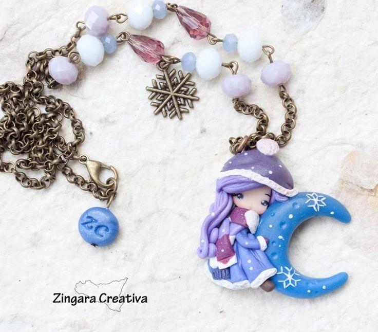 collana con fata  / collana fimo / zingara creativa /luna / inverno di ZingaraCreativa su Etsy