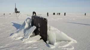 The Seawolf class submarine USS Connecticut after the boat surfaced through through Arctic sea ice in 2011.