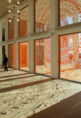 Brand New View, cut-out adhesive vinyl film,  Henry Dunker Culture Center, Helsingborg, 2003.