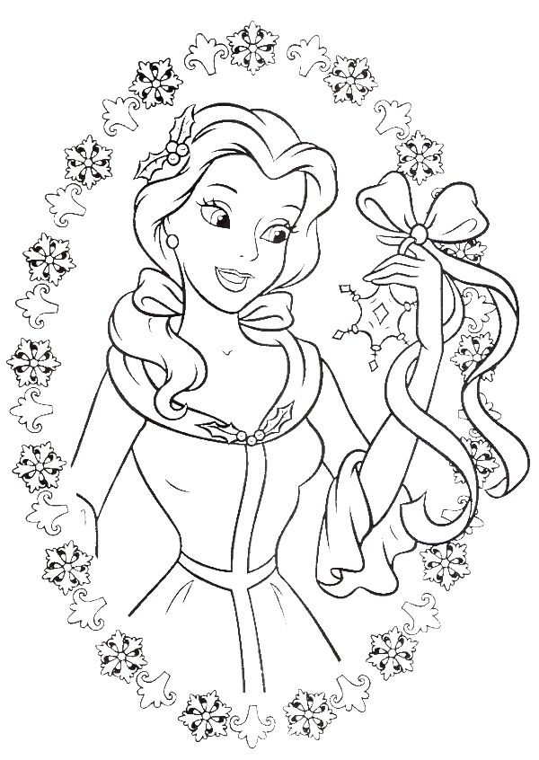 princess belle love to get gifts in christmas day coloring pages christmas coloring pages - Get Pages For Free