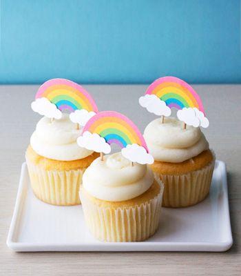 Free Printable Rainbow Cupcake Toppers