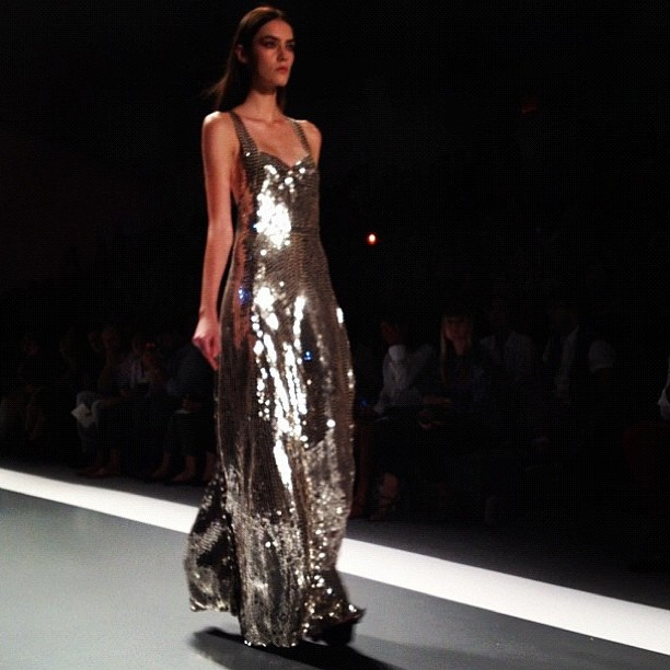 "The WSJ's Elizabeth Holmes described this full sequin gown from Jill Stuart's show as ""über glam."" #nyfw"