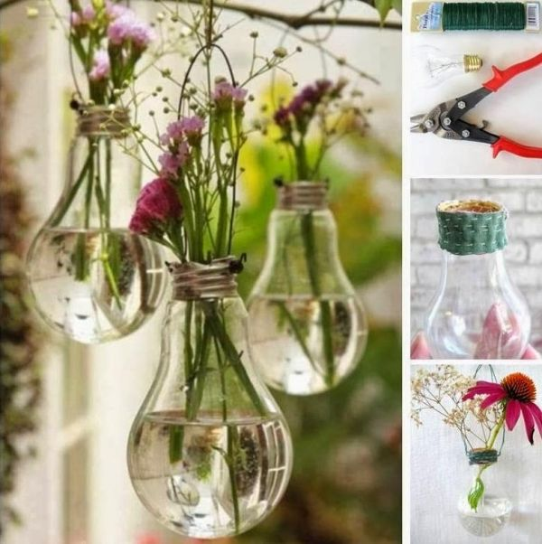gartendeko ideen-zum selber machen-alte glühbirnen-als blumenvasen