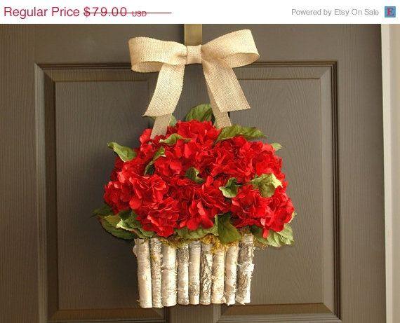 VALENTINES SALE valentine wreath Valentine's Day wreath red hydrangea wreath burlap bow spring wreaths