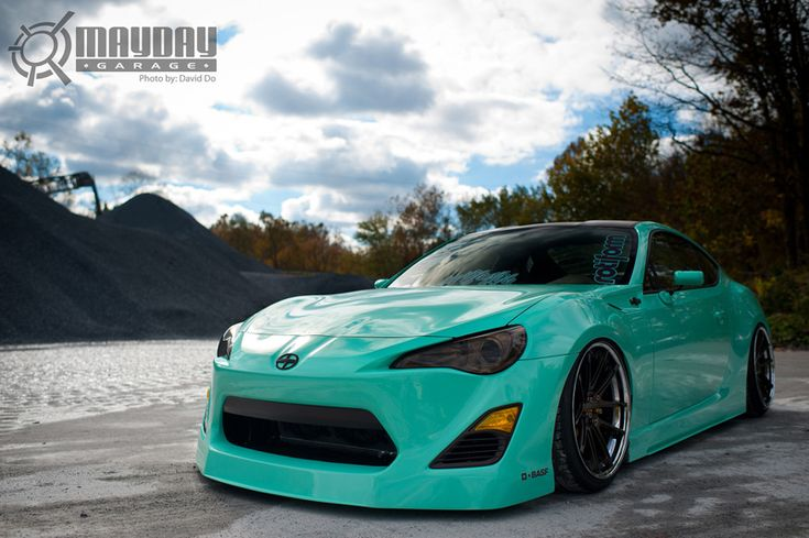 Scion FR S in Mint Green and slammed on Rotiform SNAs ...