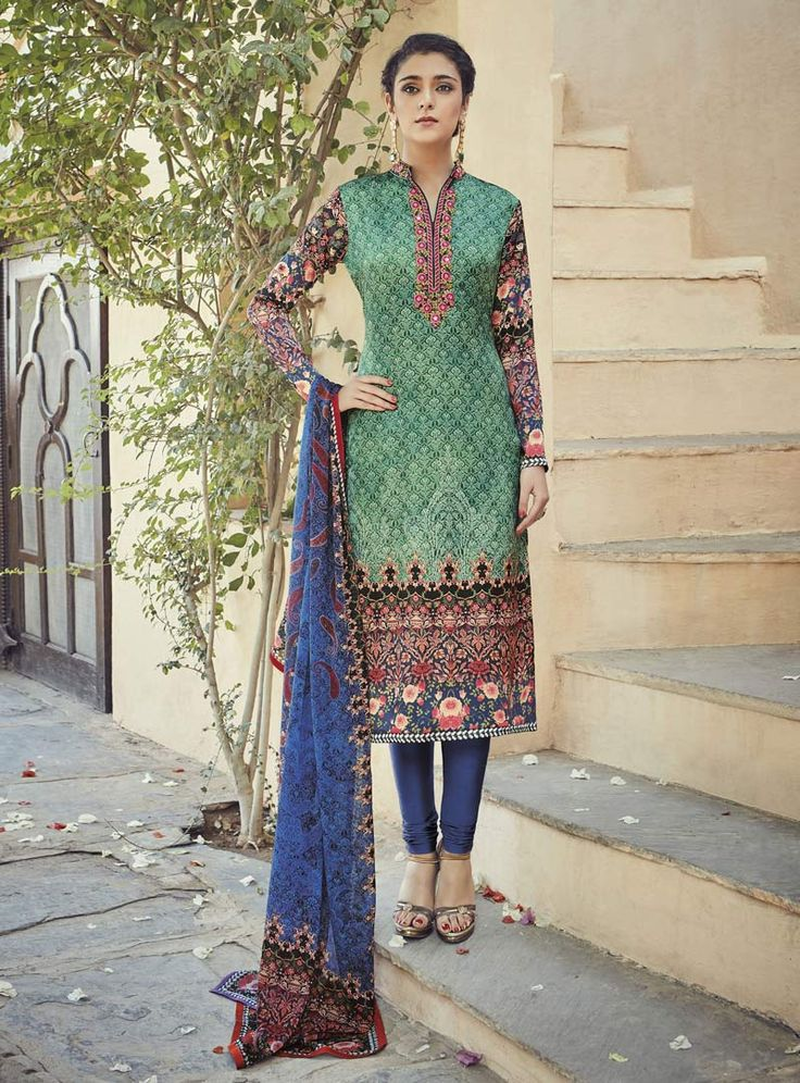 Green Crepe Churidar Salwar Suit 84686