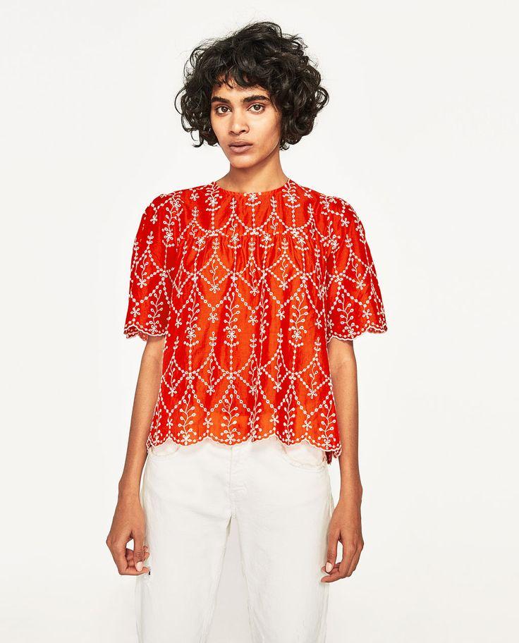コントラスト刺繍入りトップス-すべてを見る-シャツ ブラウス-レディース-SALE | ZARA 日本