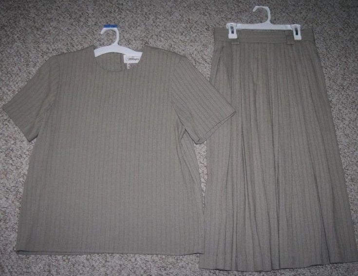 Small Worthington Beige Top Skirt Outfit Rayon Polyester Work Suit Womens Woman #Worthington #DressSuit