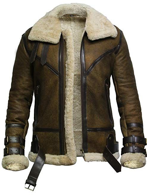 6ae45c357 Brandslock Mens Genuine Shearling Sheepskin Leather Bomber Flying ...