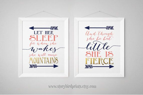 Nursery Print Set -Fierce, Mountains - And though she be but little - Let her sleep, Prints, wall art, poster - Navy, Gold, Coral